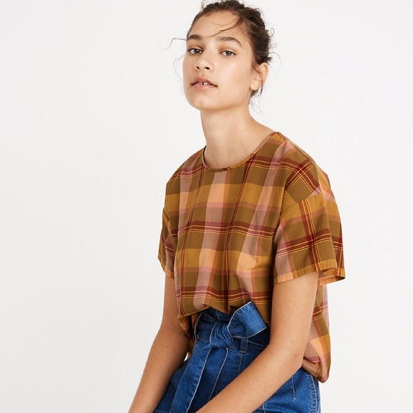 Madewell Tops - MADEWELL | Boxy Plaid Button Back Blouse Top